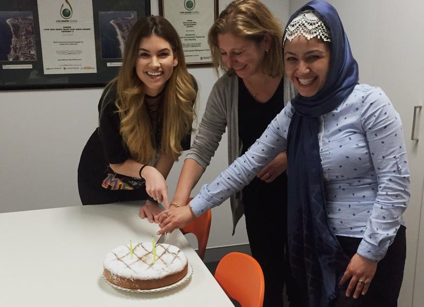 Teammates celebrate shared birthday